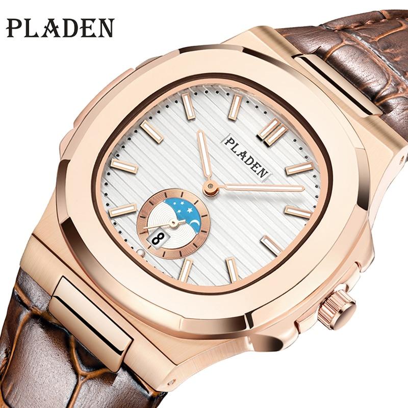 2021 PLADEN Fashion Men Watch Top Brand Luxury Rose Gold Leather Wristwatch Casual Luminous Stainless Steel Quartz Clock Hot Sal