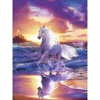 Plein carre perceuse 5D bricolage diamant peinture blanc cheval et mer diamant broderie vente photos de strass decoration de la maison TY972