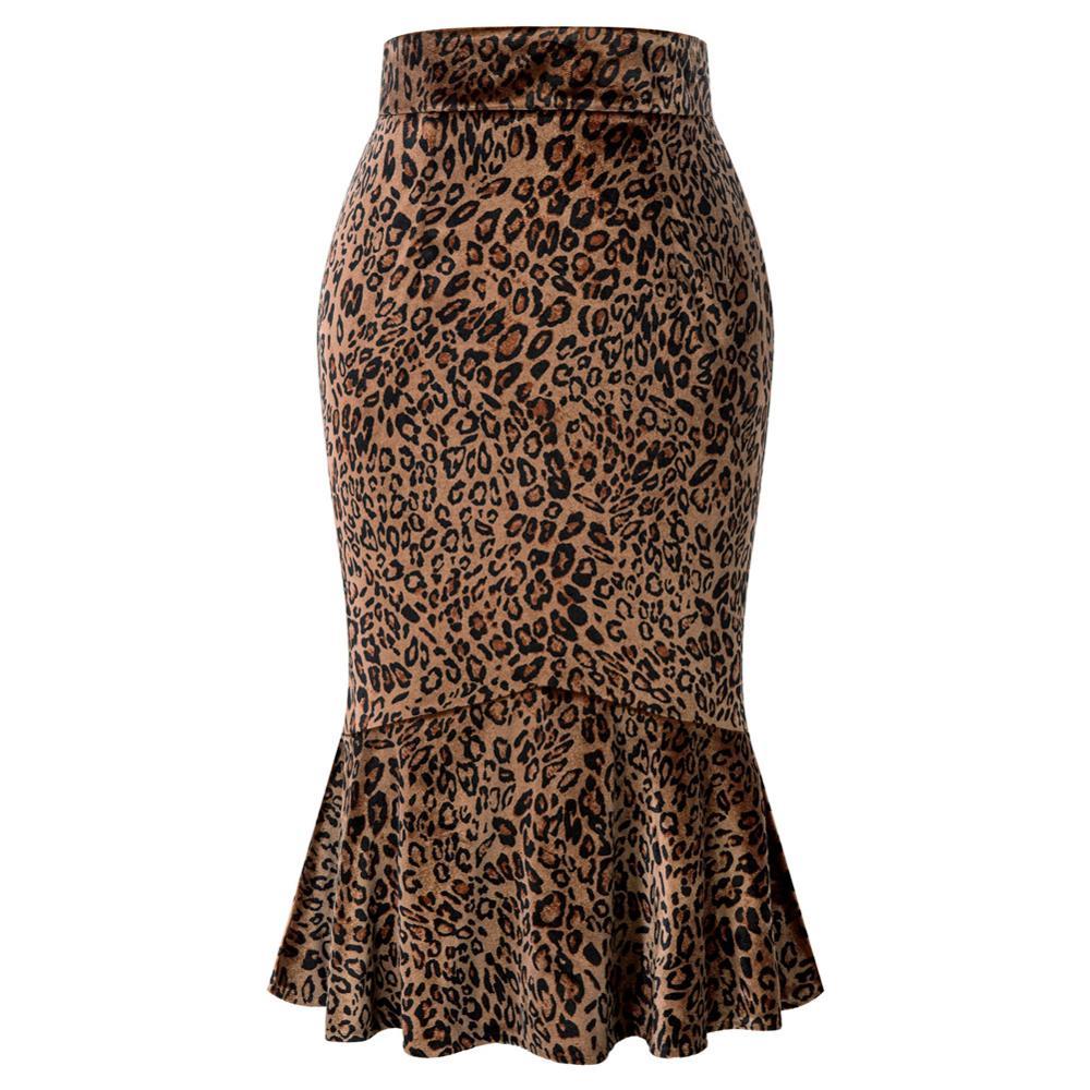 Belle Poque Steampunk leopardo sirena falda Retro ajustado lápiz falda volantes sirena dobladillo Sexy paquete cadera Midi Falda Mujer primavera