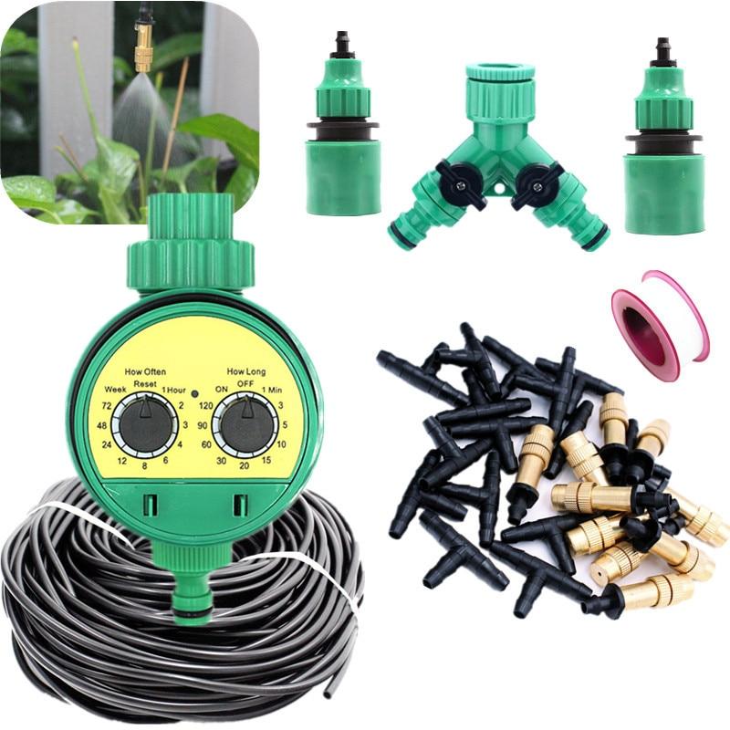 5-30m atomizador de latón con temporizador planta de riego automático atomizador ajustable Kits de riego de agua de jardín