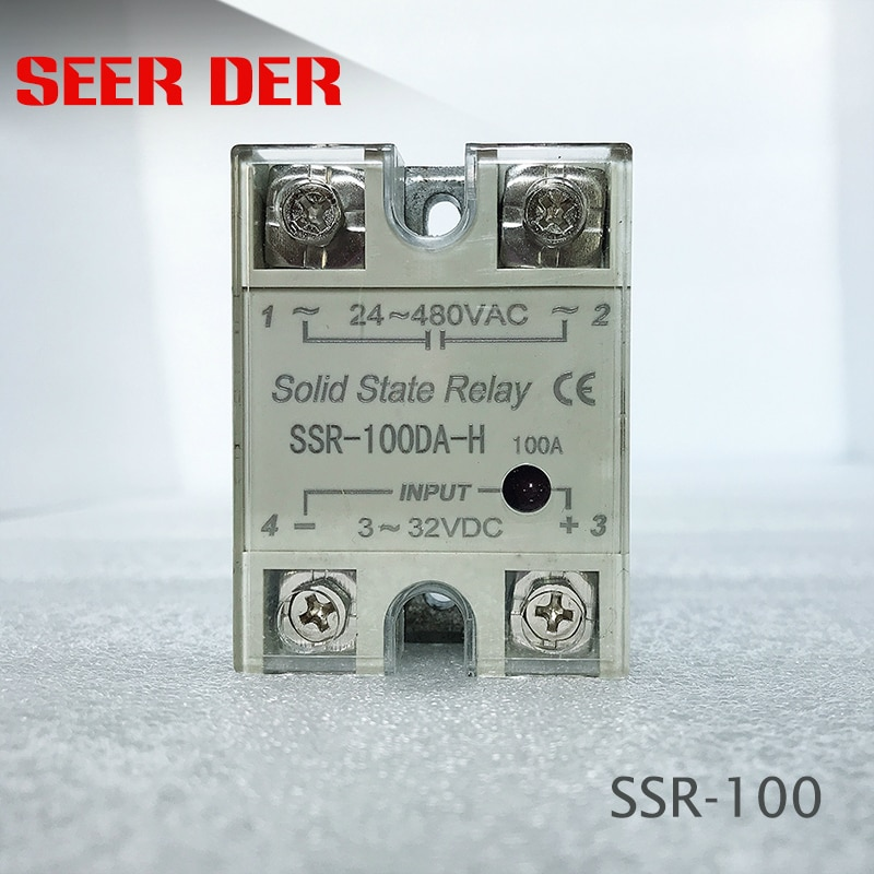 Relé de 220V relé de estado sólido Industrial SSR 3-32V Entrada de CC y salida de 24-100 VCA Salida de DA 100A SSR-100DA de carga de CA