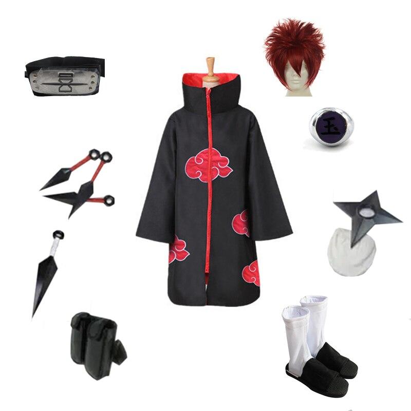 طقم زي شخصية Brdwn Akatsuki بتصميم رمال ساسوري للجنسين مجموعة كاملة (عباءة سحابة حمراء + عقال + أحذية + حلقة + كوناي + حقيبة + شوريكين)