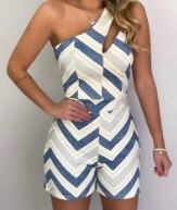 New women's one-shoulder striped jumpsuit