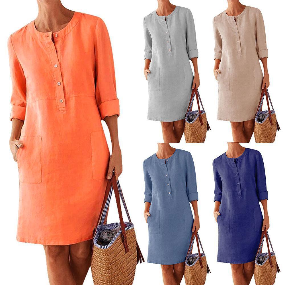2021 fashion spring autumn women's MIDI dress women's solid color loose cotton hemp new o-neck long sleeve casual dress vestidos