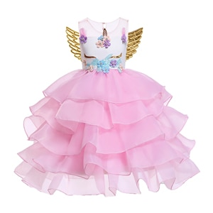 Unicorn Carnival Costumes Fancy Children's Holiday Party Dress Kids Ruffle Girl Princess Dress Pink Blue Lavender and White
