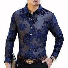 Floral Designer Shirt Camicia Uomo Flower Velvet Shirt Men 2019 New Autumn Long Sleeve Camisa Hombre Mens Button Shirt