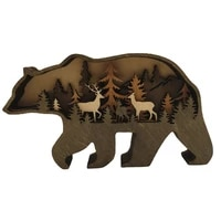 christmas wooden crafts brown bear multifunctional animal home decoration multifunctional wooden ornaments