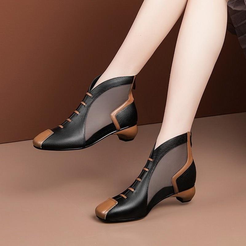 Sandálias de Tornozelo Sapatos Femininos Botas Verão Quadrado Calcanhar Médio Volta Zip Couro Macio Calçados Preto Bege 2021