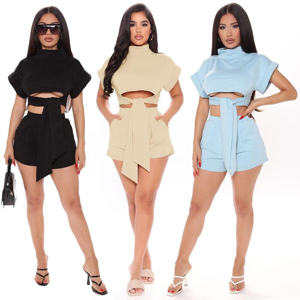 Conjunto de moda para mujer top corto ajustado frontal + Pantalones jogging para mujer Pantalones cortos de motociclista de manga corta conjunto de colchas de verano para mujer