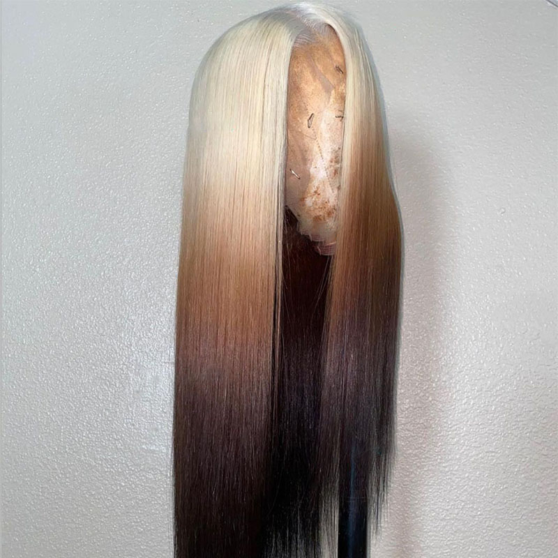 180 Density 13X4 Lace front Wig 613 Blonde Silky Straight Lace Front Wig Brazilian Remy Wig three Tone Color 8-26 inches