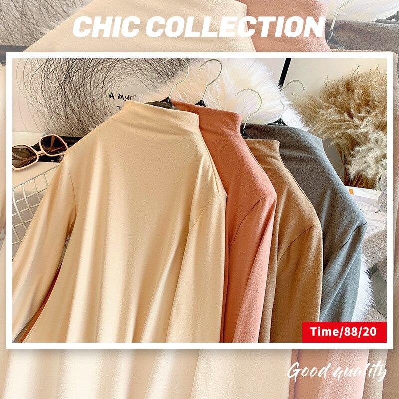Женская Удлиненная рубашка с высоким воротником, осенне-зимняя облегающая футболка с длинным рукавом, свободная осенняя одежда, топ с шлифо...