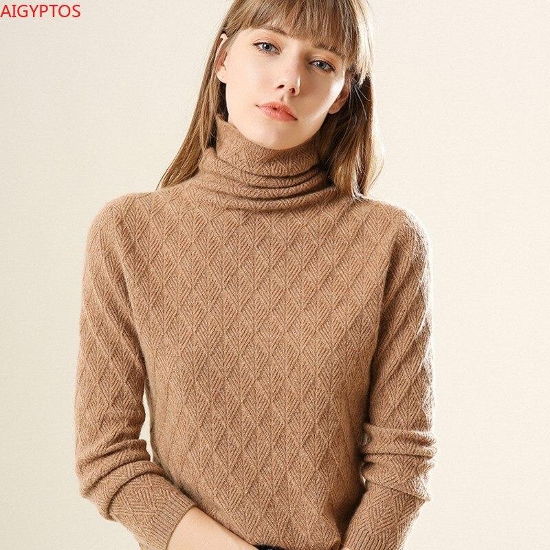 AIGYPTOS 2020 الخريف والشتاء الجديدة عالية الرقبة المرأة قصيرة كومة كومة الرقبة سترة سميكة البلوز قاع قميص