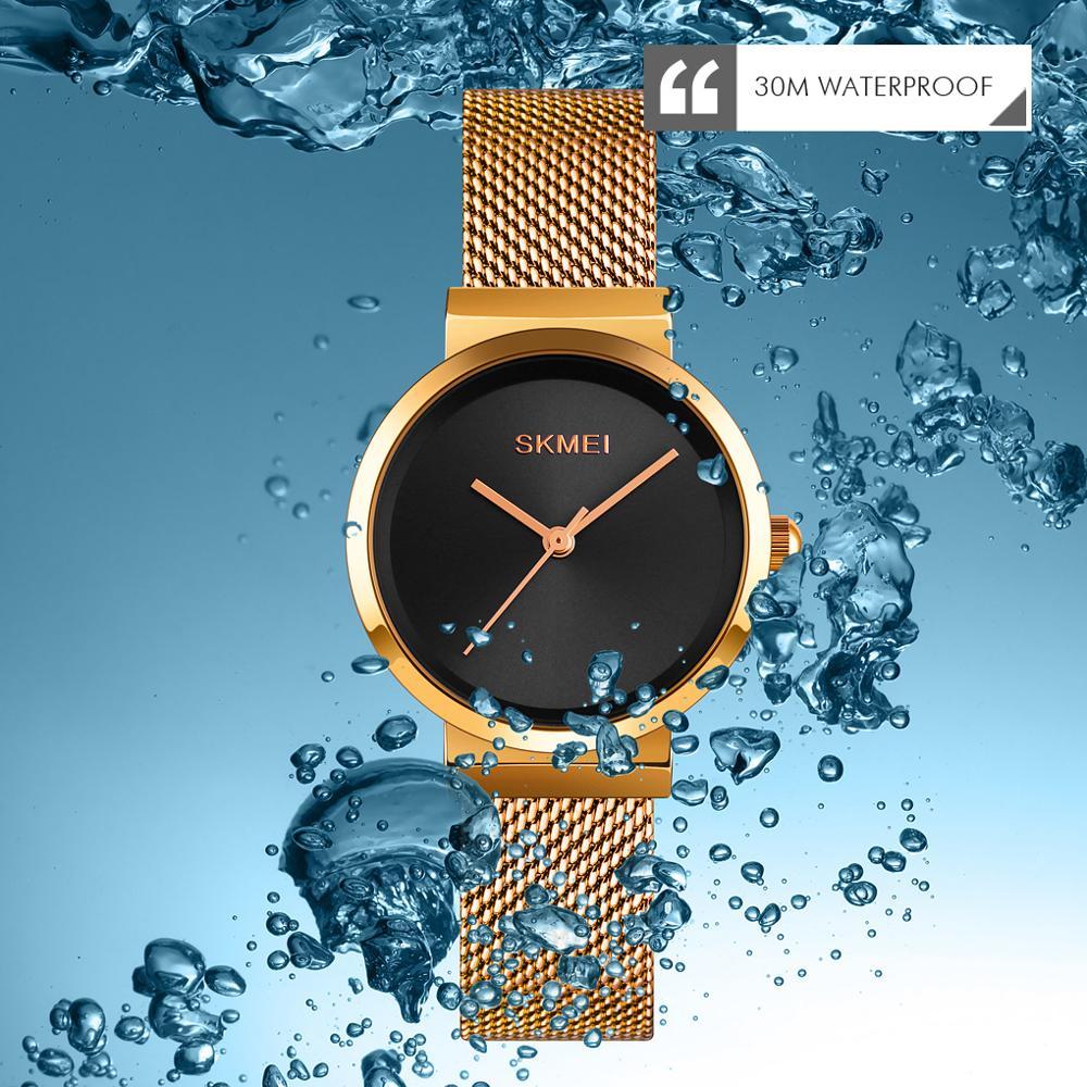SKMEI Top Brand Luxury Golden Women Watches Simple Big Dial Female Ladie Quartz Wristwatch relogio feminino 1595 Girl Clock enlarge