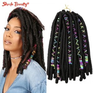 Soft Dreadlocks Crochet Braids Hair Faux Locs With Color Line Synthetic Braiding Hair Extensions for Women Black Brown