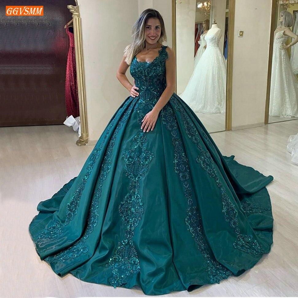 فستان زفاف ساتان أزرق طاووس ، ثوب كرة ، أنيق ، مع زينة من الدانتيل ، فستان زفاف مخصص ، 2020