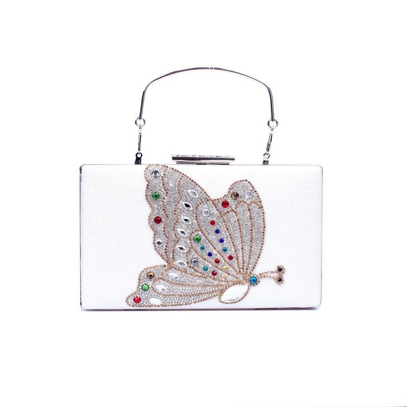 women golden Square Flat Clutch with Diamond Butterfly female white Dinner Handbag girls black one shoulder Cross Body Chain bag