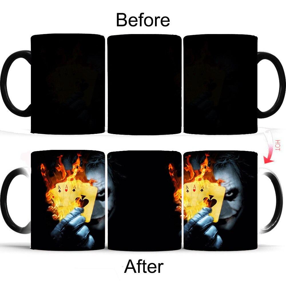 Bat Joker Magic Flame Poker Thermo Sensitive Change Colour Coffee Mug Horrible Clown Discolour Heat Hot Milk Tea Cup Taza Magica