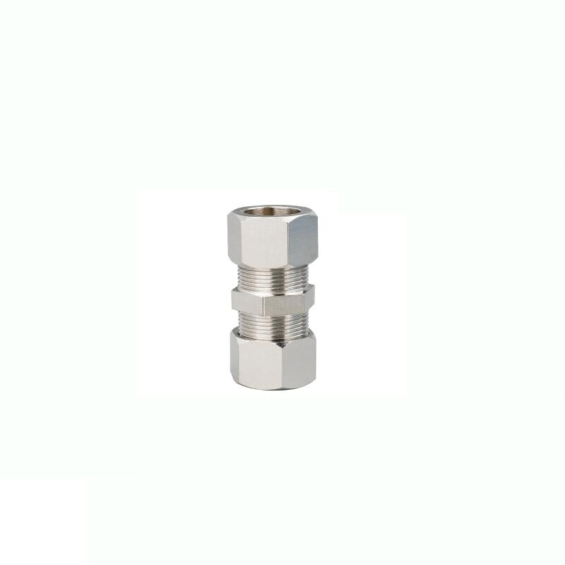 Ajuste de compresión de virola de 16mm Conector recto rápido neumático de KTPU-16 latón niquelado para tubo de acero al aluminio de latón