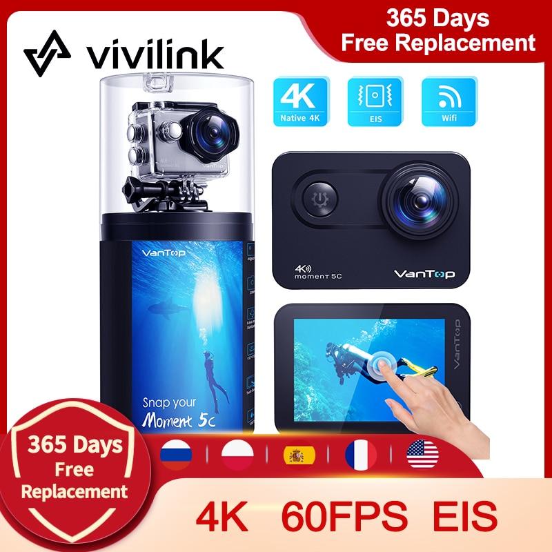 ViviLink Action Camera VanTop Moment 5C Native 4K 60fps Touch Screen WiFi 170° Waterproof Video Recording Camera Sport Cam EIS