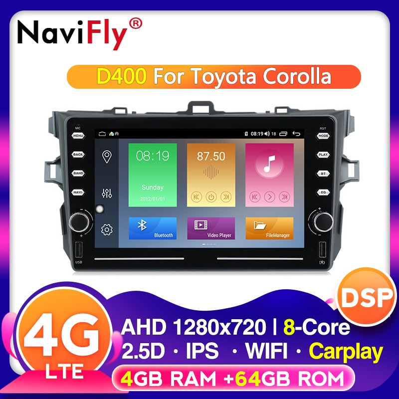 4G LTE IPS DSP Android radio, navegación GPS para coche para TOYOTA Corolla 2007 a 2008, 2009, 2010, 2011 Multimedia carplay wifi BT