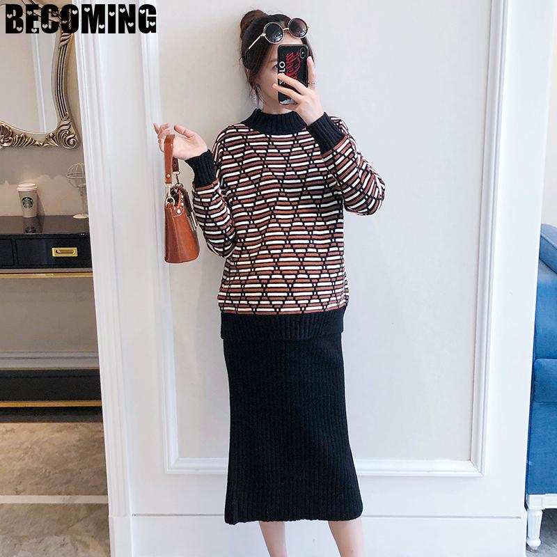 Pregnant Women's Leisure Knitting Suit Autumn And Winter Fashion Sweater Top Half Skirt 2-piece Maternity Sweater 1617696 enlarge