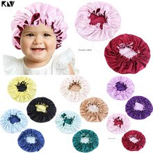 New Baby Silky Satin Bonnet Double Layer Adjustable Sleep Cap Girl Night Turban Children Solid Color Cute Hat Fashion Baby Ca