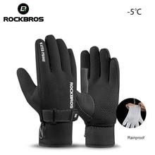 ROCKBROS Winter Cycling Gloves Thermal Waterproof Windproof Mtb Bike Gloves For Skiing Hiking Motorcycle Bicycle Accessories