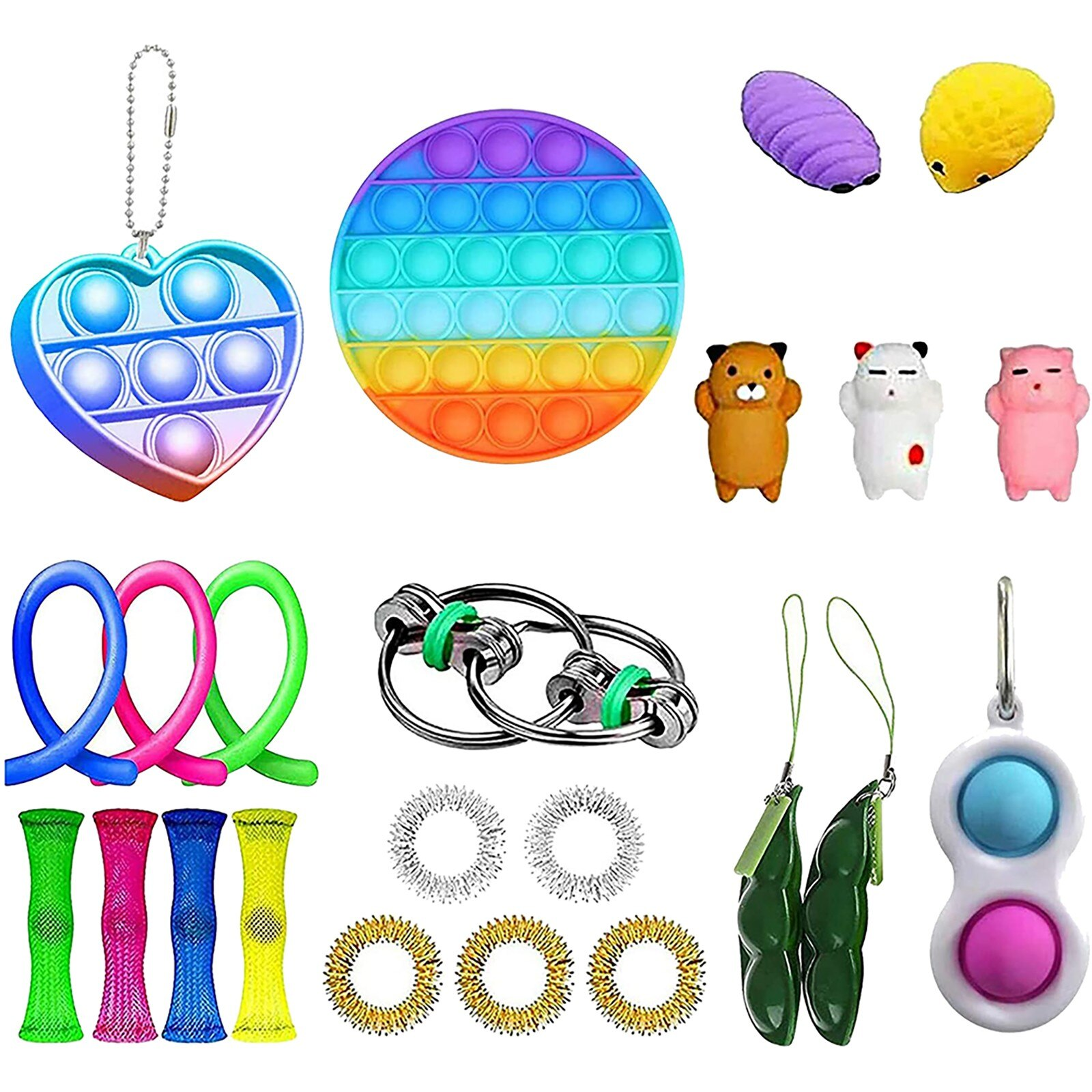 1set Fidget Toys Anti Stress Set Stretchy Strings Toys Gift Pack For Adults Kids Squishy Sensory Antistress Relief Figet Toys