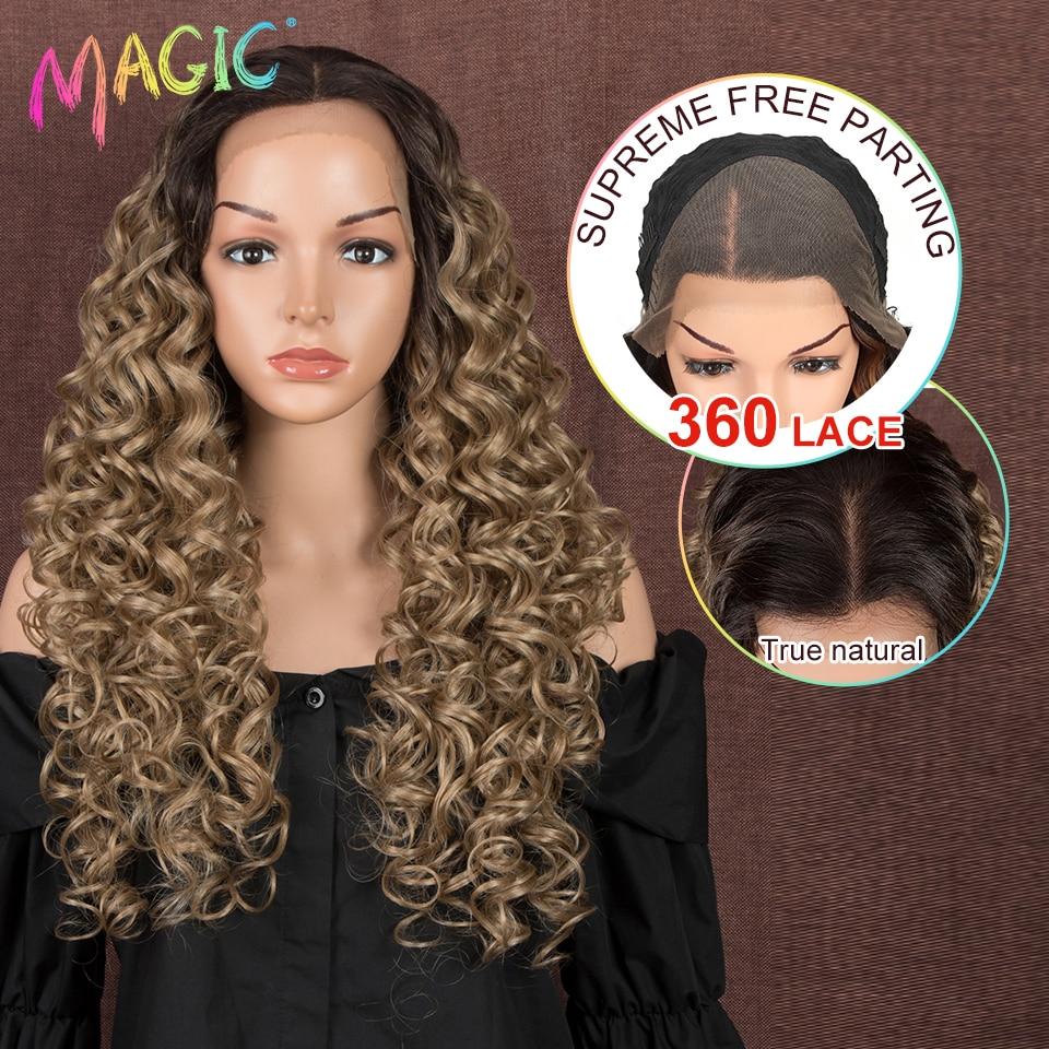 ماجيك هير-شعر مستعار طويل مموج 26 بوصة ، شعر أشقر طويل 360 ، جذور داكنة ، دانتيل أمامي ، شعر مموج سائب مقاوم للحرارة للنساء السود
