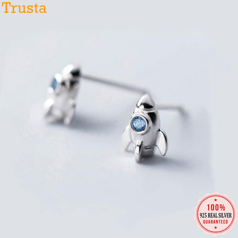Trusta 925 Sterling Silver Earring Jewelry Fashion Small CZ Stone Rocket Stud Earrings Birthday Gift For Girls Teen Lady DS1321