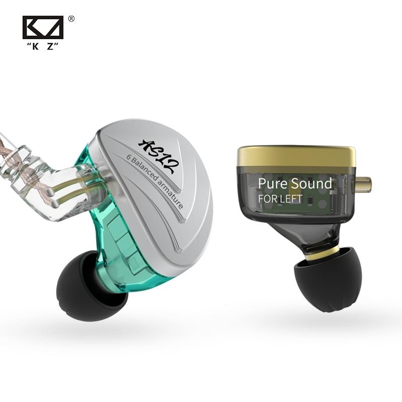 Auriculares KZ AS12, discos de armadura equilibrados 12BA, auriculares con Monitor de graves de alta fidelidad y cancelación de ruido, auriculares de aleación de Zinc