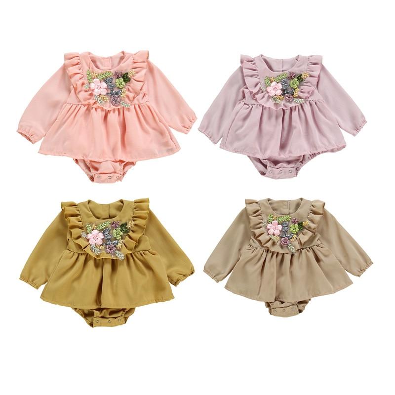 Pudcoco flores encantadoras volantes Baby Grils Bodysuits monos de manga larga otoño primavera ropa trajes moda dulce recién nacido 0-2T