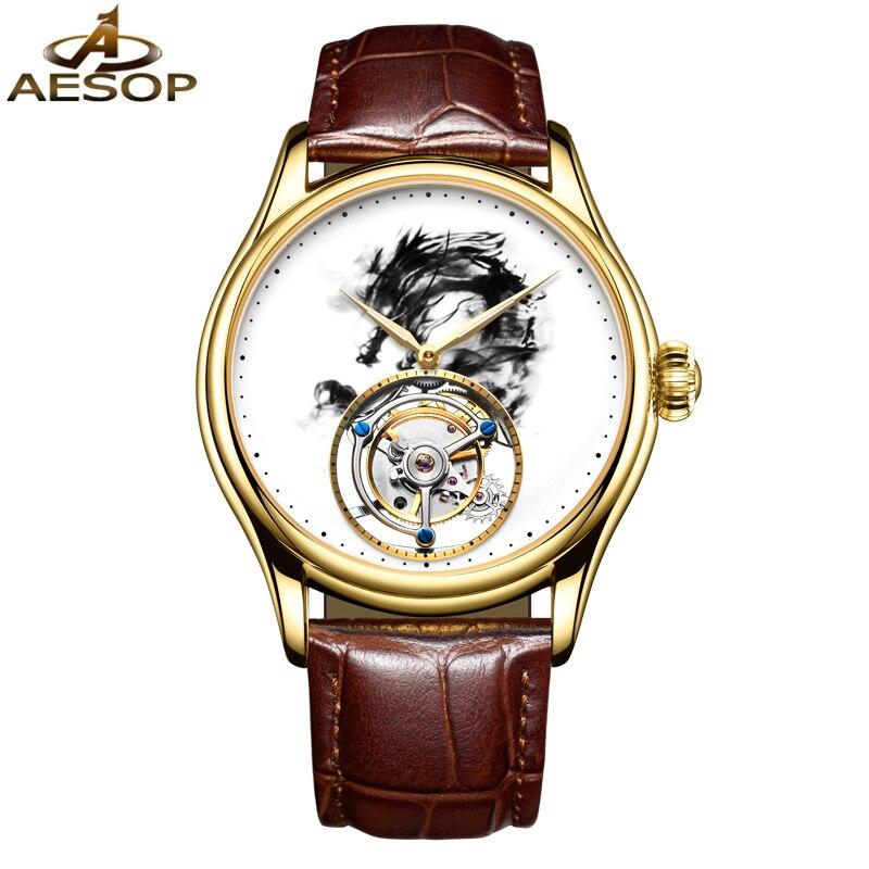 ايسوب العلامة التجارية الفاخرة الأصلي توربيون ووتش الرجال أزياء للماء التلقائي الميكانيكية ساعة اليد ساعة 2020 Relogio Masculino