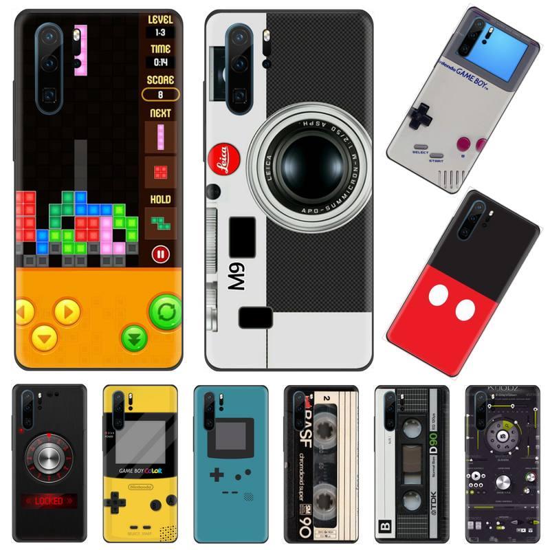 Funda de teléfono negra suave con diseño de Game Boy para Huawei Mate 9 10 20 Pro lite 20x nova 3e P10 plus P20 Pro Honor10 lite