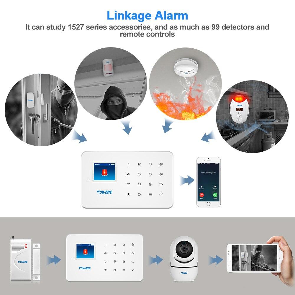 TOWODE G18 Built-in Antenna Alarm PIR Motion Detector Wireless Smoke Flash Siren LCD GSM SIM Card House Security Alarm System enlarge