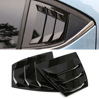 Glossy Black Rear Window Shutter Cover Trim 2pcs For Mazda 3 / Axela 2014-2018