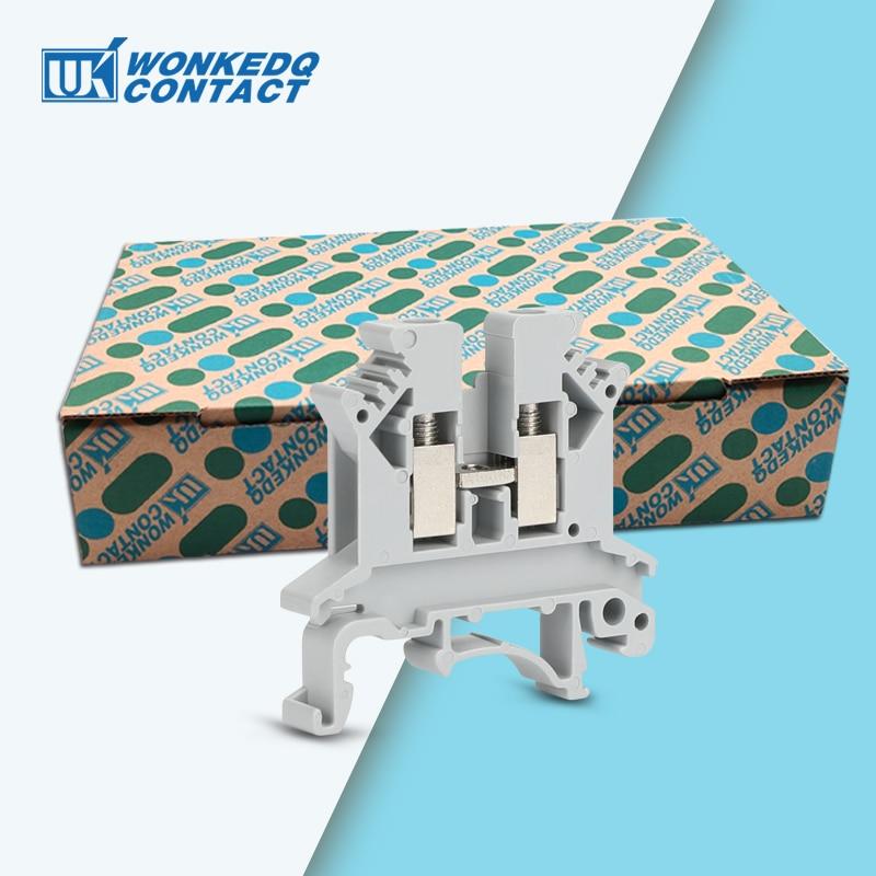100 قطعة UK2.5B UK2.5 ستة لون العالمي برغي تغذية من خلال قطاع التوصيل سلك موصل كهربائي Din السكك الحديدية محطة كتلة UK 2.5