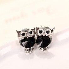 Fashion Cute Hot New Crystal Earrings Shape Lovely Women Owl Rhinestones Ear Stud For Girls Jewelry