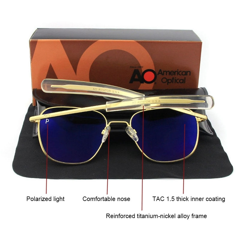Aviation AO Polarized Sunglasses Men Brand Designer Vintage American Army Military Pilot Sun Glasses
