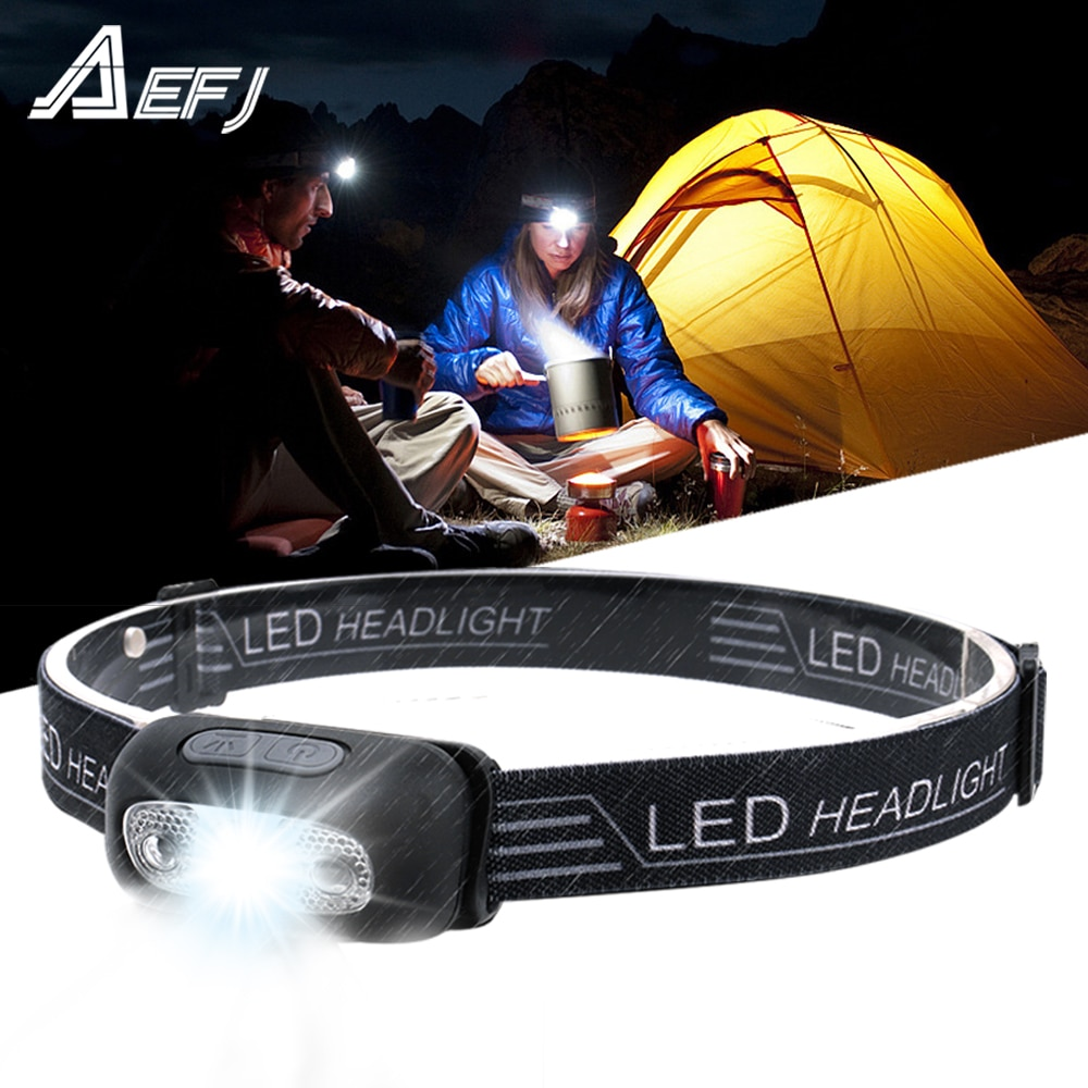 Mini Rechargeable LED Headlamp Body Motion Sensor Headlight Camping Flashlight Head Light Torch Lamp With USB