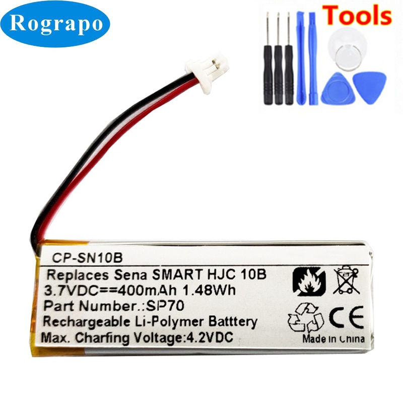 Nova bateria sp70 para sena smart hjc 10b substituição acumulador 3.7 v 400 mah batterie 2-wire plug + ferramentas