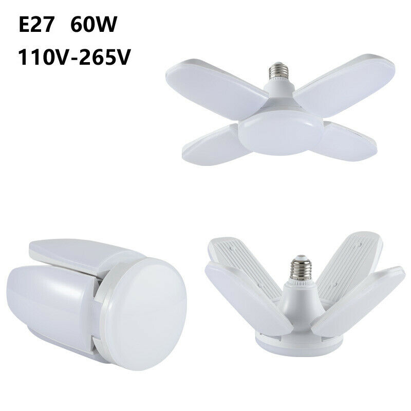 Indoor Deformable Folding Fan Blade LED Bulb High Power Adjustable Ceiling Light Chandelier Downlight Lamp Super Bright 110V 220