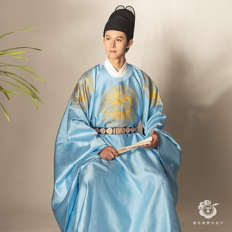 HanFu الصينية التقليدية الملابس تشو Yuanzhang نفس الفقرة الانتعاش مينغ سلالة Hanfu الرجال جولة الرقبة رداء