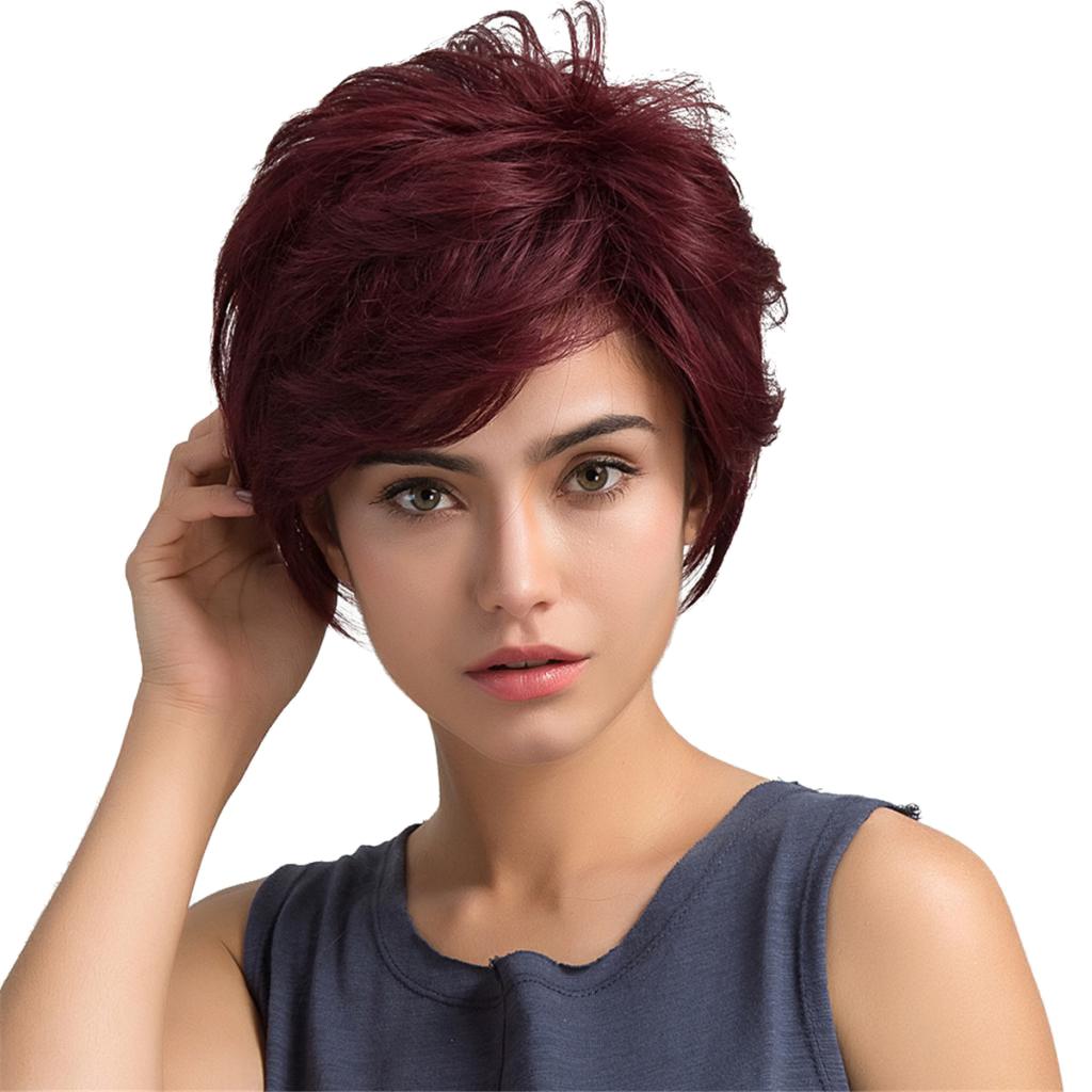 شعر بشري قصير أحمر النبيذ البارد للنساء السيدات زي حفلة يومية كاملة