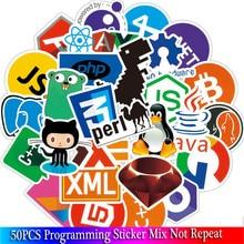 Pegatinas de programación para ordenador portátil y coche, pegatinas divertidas con logotipo de la aplicación en el idioma de la nube, 50 Uds.