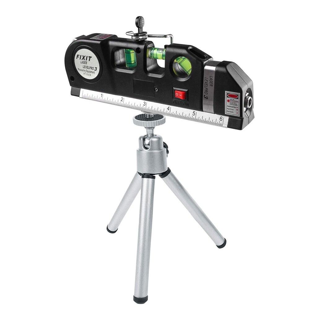 Cinta de línea de medición Vertical de nivel láser ajustada regla estándar multifunción líneas de láser horizontales instrumento óptico + trípode