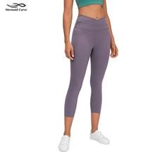 "Mermaid curve Align Crop 21"" Inseam Yoga leggings High Rise Cross Waist Women Tight Yoga Pants Buttery-Soft Fabric Capris Pants"