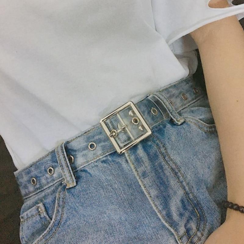 Heart Belts For Women Resin Cute Transparent Belt Jeans Dress Waist Strap Pin Buckle Harajuku Ladies