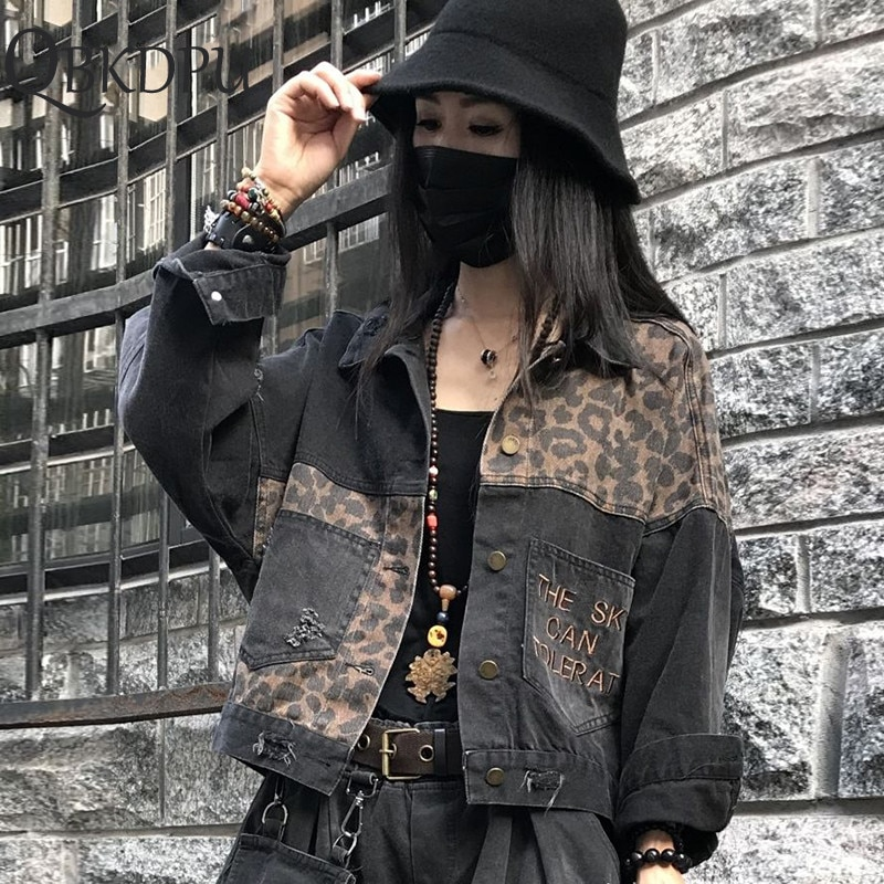 Jaqueta jeans leopardo do vintage 2020 primavera harajuku punk jean jaquetas casaco feminino coreano bf solto bolso moda streetwear