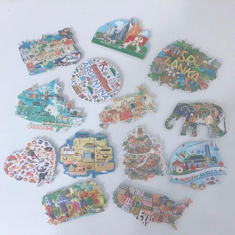 Pegatinas de resina de refrigerador 3D Turismo Mundial ee.uu. Europa Londres París iman de frigorífico Souvenir magnético decoración del hogar Ideas de regalo